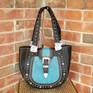 Montana West Concho Buckle Black Bag